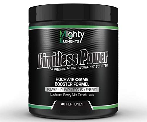 Limitless Power - Pre Workout Booster, 40 Portionen, L-Citrullin, L-Arginin, CDP-Cholin Citicolin, Beta-Alanin, Guarana, BCAA 2:1:1, Pump Booster, Fokus, kein Crash-Down, hochdosiert Mighty Elements