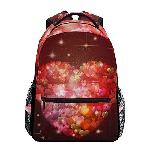 poiuytrew Bling Love Hearts Mochila Estudiantes Bolsos de Hombro Mochila de Viaje Mochilas Escolares