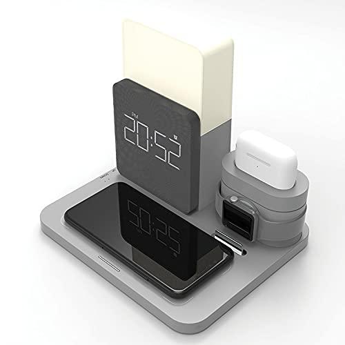 Lámpara Escritorio de Interruptor táctil multifunción Bluetooth lámpara de Mesa LED con atenuación estéreo/luz Nocturna/versión de Carga inalámbrica Opcional (Color:Normal),Negro