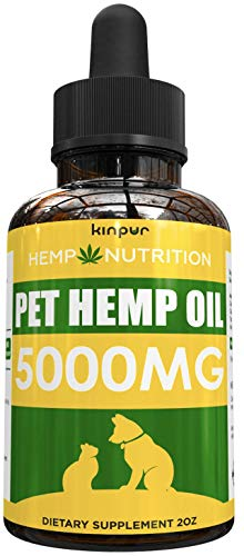 Hemp Oil for Dogs & Cats - 5000mg - Calming Mood, Anxiety & Stress Relief - Hip & Joint Support -...