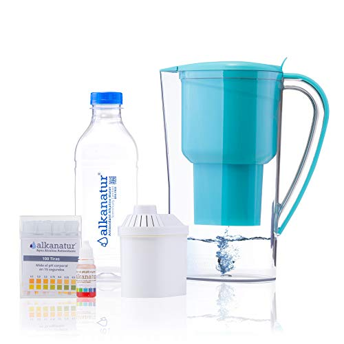 Alkanatur Alkaline Water Pitcher Filters Fluorides, Chlorine, Sodium, etc - Alkalized and Ionized tap Water - High pH Alkalizer PH of 9.5, Most Certified Pitcher CE, RoHS, SGS Approved and More