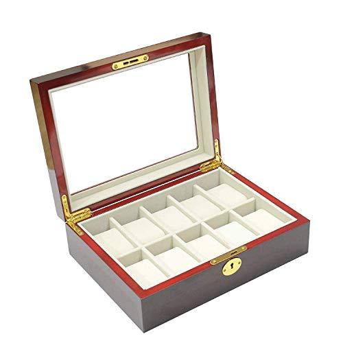 LGR Caja de joyería Caja de Reloj Cajas de joyería Regalo Viaje Hombres Mujeres Anillo de joyería de 3 Cilindros Caja de Almacenamiento portátil de Fibra de Carbono 19 * 9Cm