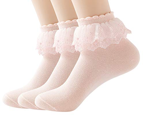 YASIDI Women's Solid Color Lace Ruffle Frilly Socks, Comfortable Cotton Ankle Lace Socks, Princess Socks (3 Pairs, Pink)