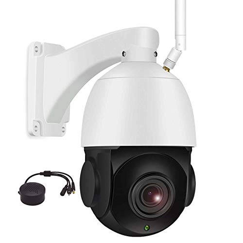 PTZlink - Telecamera PTZ 5MP WiFi, impermeabile, IP66 IP Pan Tilt 18X, zoom ottico senza fili, visione notturna IR 262ft audio bidirezionale, slot card integrato zoom PTZ HD 5.0 MP