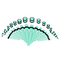 36PCSイヤーストレッチキットアクリルテーパー&プラグレッドOリングピアスエキスパンダー(light green)