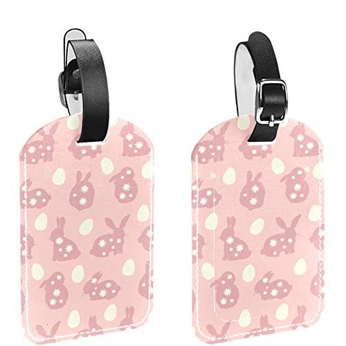 Etiqueta inicial para equipaje de viaje, totalmente flexible, de piel sintética, juego de 2 huevos de Pascua