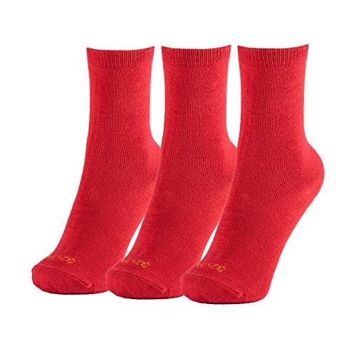 Minime Calcetines Cortos Escolares Lisos Niño Colegio Pack de 3 (Rojo, 23-25)