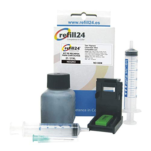 Kit de Recarga para Cartuchos de Tinta HP 21, 21 XL Negro, Incluye Clip y Accesorios + 50 ML Tinta