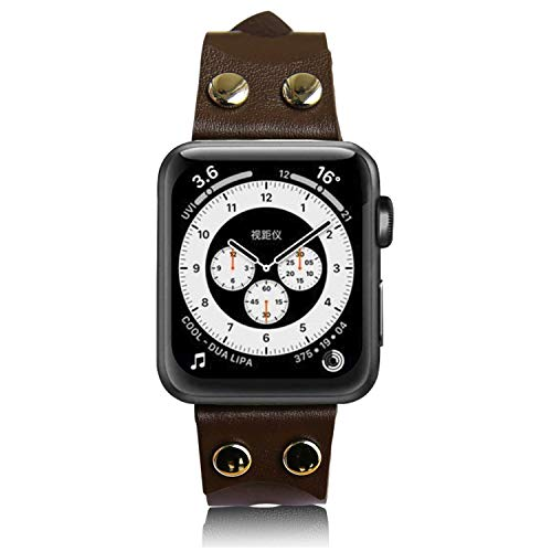 Euler Original Style Genuine Leather Strap with Rivet, Compatible with Apple Watch Band for Apple Watch Series 6 SE 5 4 (44 mm, Brown)