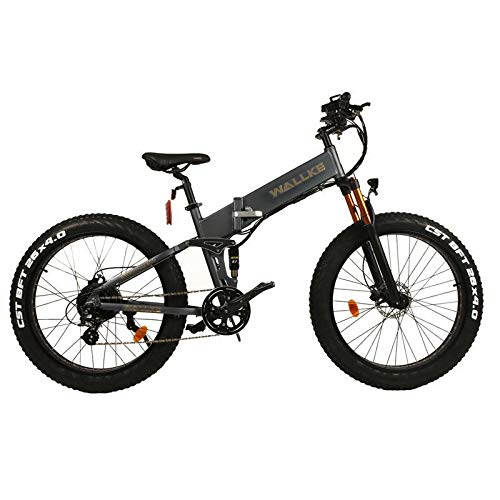 W Wallke X3 Pro 26 inch Fat Tire Electric Bike 48V 14AH Samsung Lithium Battery Shimano 8 Speed Bicycle Upgraded No Weld Aluminum Alloy Folding Frame Suspension Fork Mountain E Bike