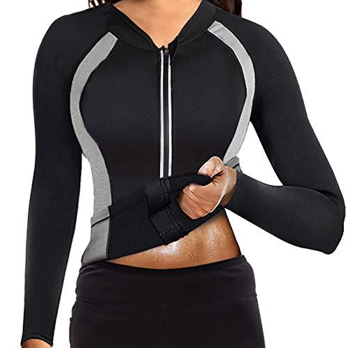 Women Sauna Suit Waist Trainer Jacket Hot Sweat Top Neoprene Body Shaper Workout Suit Running Cycling Jersey Black