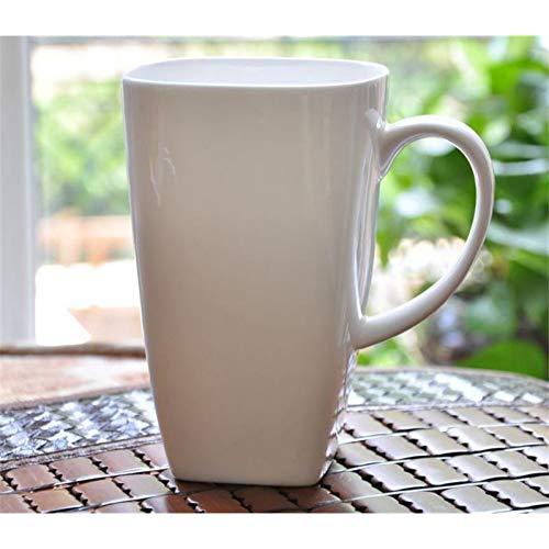 LMLUCKY Taza 700 Ml, Tazas De Té Grandes De Porcelana Blanca De Hueso Blanco, Taza De Porcelana Cuadrada Agua De La Mañana, Taza De Café De Cerámica Tasse A Cafe, Café De Vaso