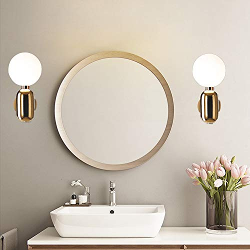 WHSS Luces de Pared Tres Colores De Diámetro 15 * 33 Cm De Oro Europeo Simple Lámpara De Pared Escaleras Pasillo Cama Baño Sala De Estar Estudio