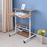 Mesa De Escritorio Altura Ajustable Pie Móvil para Ordenador Portátil Auxiliar Sofa Laptop Trabajar Cómodamente O Sentado (Color : Brown)