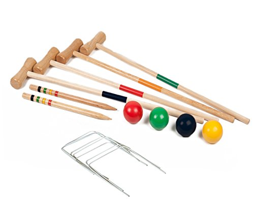 Childrens Kids 4 Player Wooden Croquet Set Outdoor Garden Toy Game