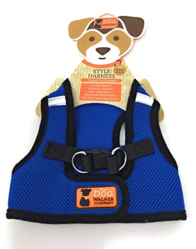 The Dog Walker Reflector Style Harness | Blue | Medium 10-15 lbs