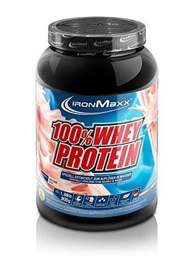 IronMaxx 100% Whey Protein - 900g Dose - 18 Portionen - Melone - Hochwertiges Eiweißpulver für Proteinshake auf Wasserbasis - 36 leckere Geschmäcker - Designed in Germany