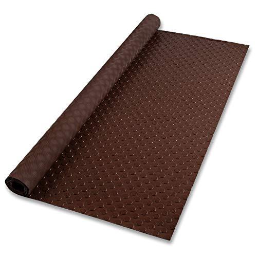 Floordirekt Gummimatte Schutzmatte Noppenmatte Gummiläufer Noppen Geruchslos (120 x 300 cm, Braun)