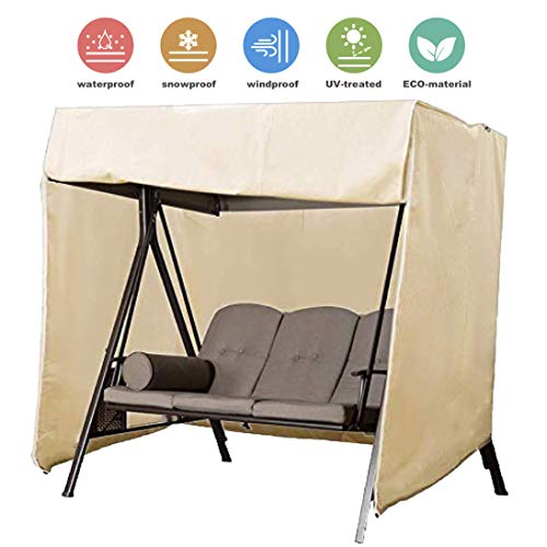boyspringg Outdoor Swing Covers Patio Garden Hammock Glider Cover Durable Waterproof UV Resistant Whether Protector Outdoor Furniture (3 Seater, Beige)