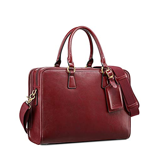 Kattee Genuine Leather Briefcase for Women, Large Capacity Laptop bag with Luggage Tag (Red)