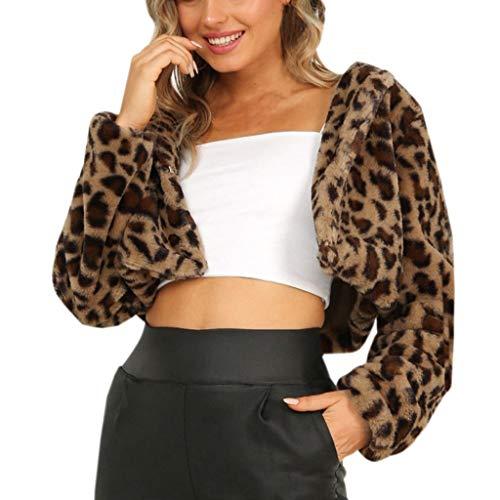 TLOOWY 2019 Fashion Damen Kurze, Flauschige Fleece-Mantel Herbst Winter Leopard Outwear Langarm Reißverschluss Casual Kunstfell Bluse - Gelb - XX-Large