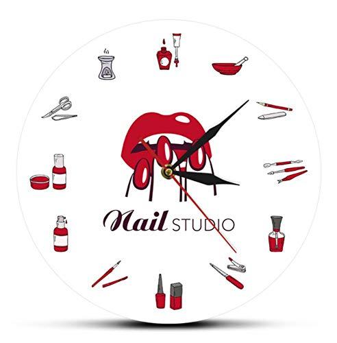 JJYM Beauty Shop Nagel Spa Studio Aangepaste Wandklok Pedicure Salon Gereedschap Kunstwerk Gepersonaliseerde Manicure Naam Stille Kwarts Wandklok