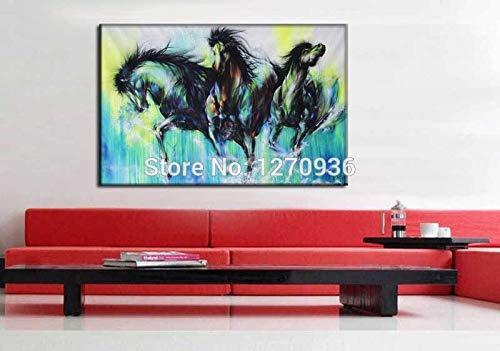 zzlzjjMuurkunstwerk Abstract Drie blauwe paarden die puur met de hand geschilderd Dierlijk paarden Canvas OlieKerst Unieke decorverf uitvoeren50x70CM