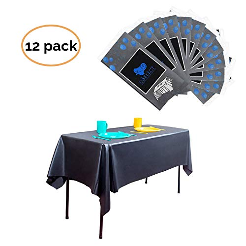 """Premium Plastic Disposable Tablecloths - Roll of 12 Black Covers - Durable 54"""" x 108"""" Rectangle Table Cloth for Parties, Holidays. Used for Dinners, Weddings, Thanksgiving, potlucks, Craft and More!"""