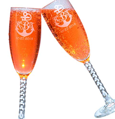 2 Personalized Etched Monogram Anchor Toasting Champagne Wedding Flutes Glasses