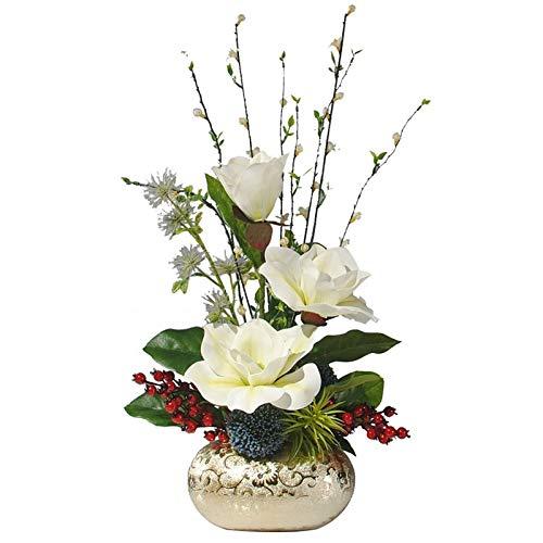 FOTGL Flor Artificial con florero de cerámica, Falsos arreglos de Flores de Seda de la Magnolia Ramo de Flores for la decoración del hogar