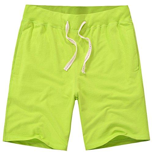 AMY COULEE Men Jogging Fit Cotton Soft Elastic Band Waist Shorts (L, Fluorescent Green)