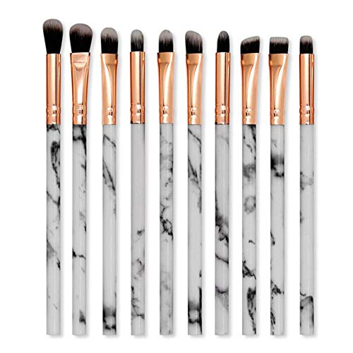 Eyeshadows Makeup Brush Set 10 Pcs Marble Texture Pattern Plastic Handle Eye Shadows Makeup Brushes Tool Kit for Pro & Daily Use