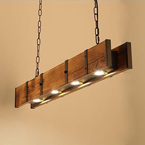 Lámpara colgante de luz LED para Comedor Lámpara de techo de madera vintage Diseño industrial retro rectangular Lámpara de araña Focos Loft Sala de estar Cocina Isla Cafe Bar Ajustable Rústico 100cm