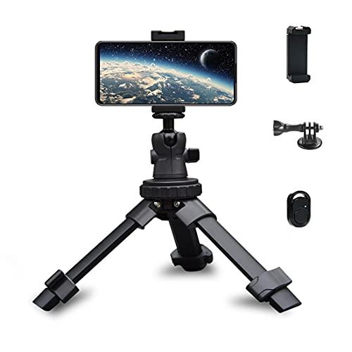 Phinistec Mini Stativ für Handy, Kamera, iPhone, Gopro, Beamer Tischstativ mit Smartphone Halterung und Bluetooth Fernauslöser und Gopro Adapter (Schwarz)