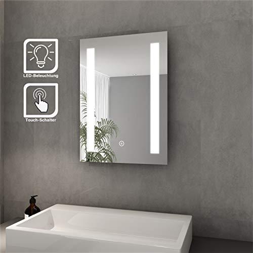 Elegant Badspiegel mit LED-Beleuchtung Lichtspiegel 45 x 60 cm kaltweiß IP44 Energiesparend Sensor-Schalter Bad Spiegel Badezimmer Wandspiegel