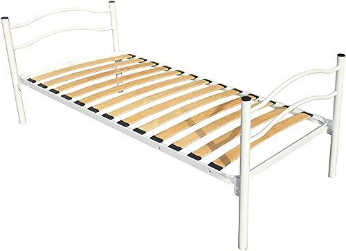Einzelbett mit orthopädischer Plattenbasis, Bett-Kopfteil- und Fußpedal, hohe Widerstandsstahlstützstruktur,White