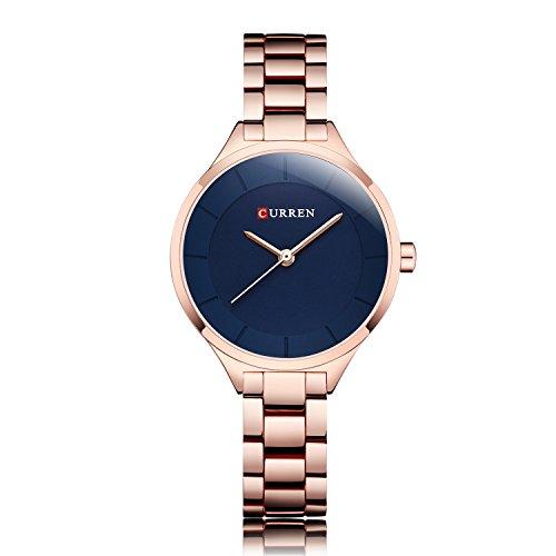 ZHANGZZ Schöne Curren Uhr, Rose Gold Uhr Frauen Uhren Damen Edelstahl Frauen Armband Uhren Weibliche Uhr Relogio Feminino Montre Femme (Color : 6)