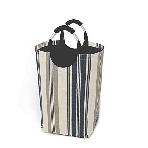 N\A Canasta de lavandería Grande de Rayas Simples de 50 l con Asas, Canasta de Ropa Sucia Plegable para Viajes, Compras, baño
