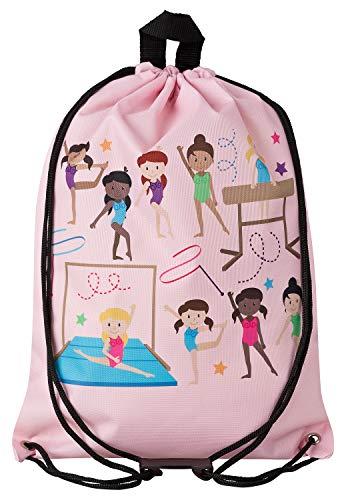 Aminata Kids - Kinder-Turnbeutel für Mädchen mit Tanz-Sport Ballett Ballerina Tanzen Turnerinnen Balletttasche Tänzerin Sport-Tasche-n Gym-Bag Sport-Beutel-Tasche rosa Weiss-e…