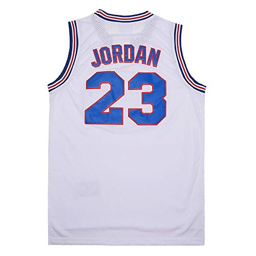 Youth Basketball Jersey #23 Moive Space Jam Jerseys for Kids (White, Youth Large)