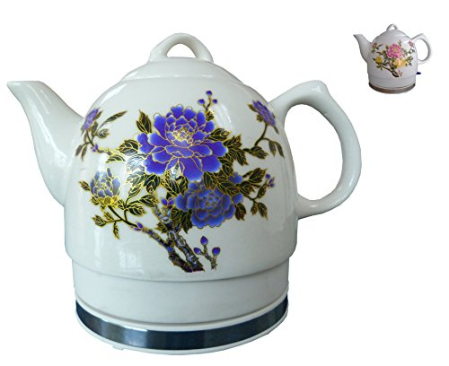 FixtureDisplays Ceramic Electric Kettle with Peony Flower Pattern Two-Tone 15000