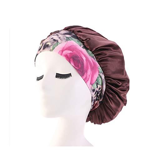 HHSUU Mujeres Satén Noche Sueño Cap Cabello Bonnet Sombrero Seda Cubierta Cubierta Impresión Ancho (Color : Brown)