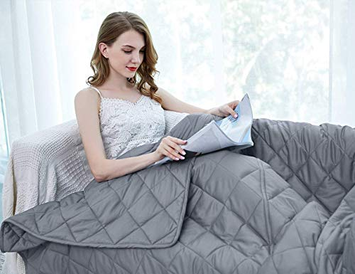ZZZhen Weighted Blanket - High Breathability - 48''72'' 15LBs - Premium Quality Heavy Blankets -...