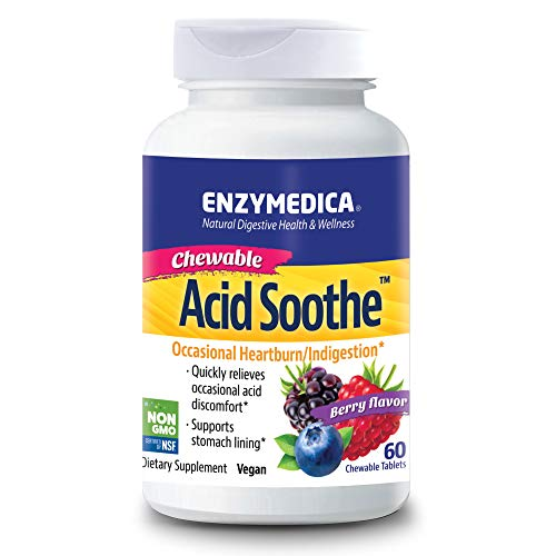 Enzymedica, Acid Soothe Chewable, Promotes Relief from Heartburn and Indigestion While Helping to Strengthen the Stomach Lining, Vegan, Non-GMO, 60 Tablets (60 Servings)