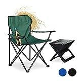 Relaxdays, Verde Silla Camping Plegable Acolchada con Reposabrazos, Soporte para Bebidas y Bolsa de Transporte, Acero y...