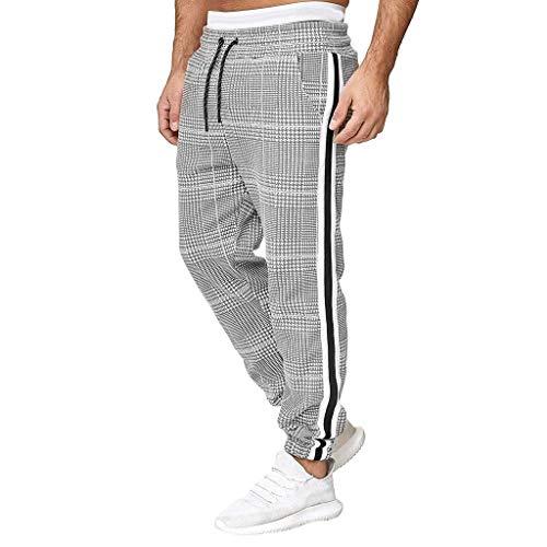 FIRMON-Jeans Herren lange Hose kariert gestreift neun Hosen Overalls Casual Pocket Sport Arbeitshose Trainingshose Jogginghose Gr. 41-44.5, grau