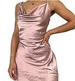Mini vestido corto de mujer terciopelo con encaje estampado floral cuello en V sin mangas tirantes Cóctel Discoteca Chic Vintage Ins Slim Sexy Verano, Rosa B., L