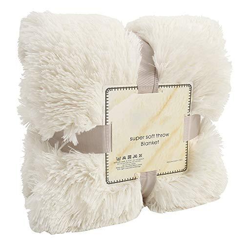 FlowersSea Manta de Pelo Largo, Suave, cálida, de Piel sintética, para Silla de Cama o sofá, Blanco, 160 * 200cm