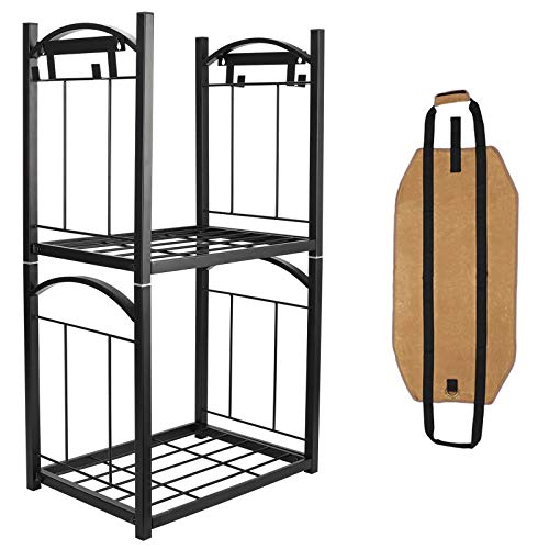 TQVAI 2 Tier Indoor Firewood Rack Outdoor Log Storage with Fire Tools Hanging Hooks and Waxed Canvas Fire Wood Carrier Bag Stacking Fireside Lumber Holder, Black