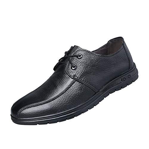 ZHANGCHANG Oxfords Zapatos de Ropa Informal y Transpirable con Costura Anti-Slip LeisureL holgazán for los Hombres Atan for Arriba Costura Echt Cuero clásico con Cordones